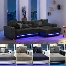 sofa mit led wohnlandschaft laredo sofa ecksofa in schwarz grau greige