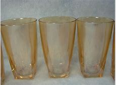 """Lot 5 Vintage Amber Pressed Glass 5"""" Tall Drinking Glasses"""