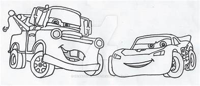 Mater And Lightning McQueen Outlines By HeartSongWolf On
