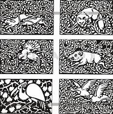 muster mit tieren im jugendstil stock vektorgrafik