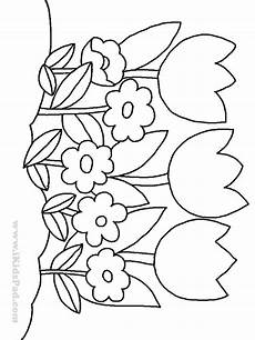 Malvorlage Blume Einfach Row Of Tulip Flowers Coloring Pages For Flower