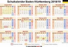 Schulkalender 2018 2019 Baden W 252 Rttemberg F 252 R Pdf