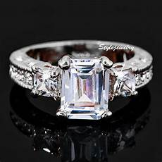 swarovski wedding rings 18k white gold plated made with swarovski crystal wedding engagement ring r27 ebay