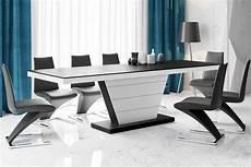 extendable dining table vera black matt white high