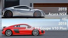 2019 acura nsx vs 2018 audi r8 coupe v10 plus technical comparison youtube