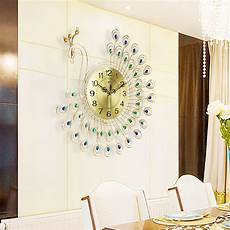 Home Large Metal Peacock Luxury by 21 Inch 3d Mute Large Metal Peacock Wall Clock Home Decor