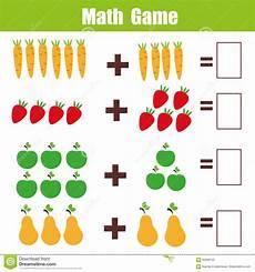 math educational game for children addition mathematics worksheet stock vector illustration