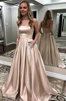 2019 satin prom dresses long strapless a line semi formal gowns beaded pockets evening party
