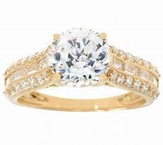 diamonique and baguette bridal ring 14k gold page 1 qvc com