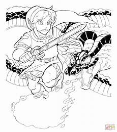 link s battle with volvagia coloring page free printable