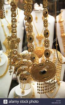 gold jewelry for sale in the gold souk or market deira