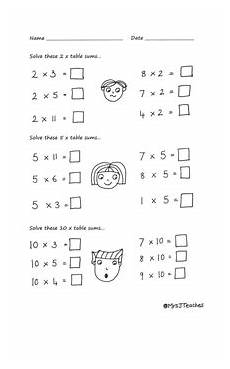 2 5 and 10 times table drawn worksheets early multiplication