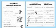 mental math worksheets addition and subtraction mental maths addition and subtraction worksheet