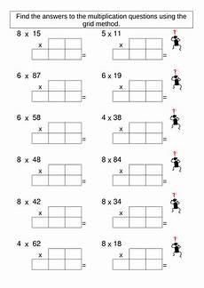 multiplication grid method worksheet generator teaching resources