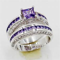 brand princess cut 6mm amethyst 10kt gold filled wedding ring sets sz 5 11 gift ebay