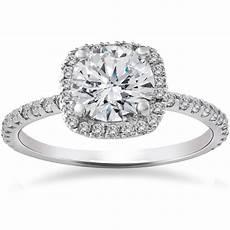 2 carat cushion halo enhanced diamond engagement ring 14k