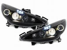 headlights peugeot 207 06 2 halo rims black