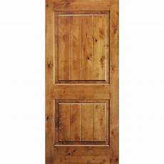 krosswood doors 28 in x 80 in knotty alder 2 panel square top v groove solid wood right hand