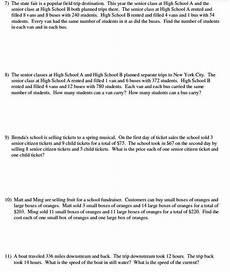 linear equation word problems worksheet