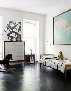 chambre meuble blanc le parquet noir en 45 photos