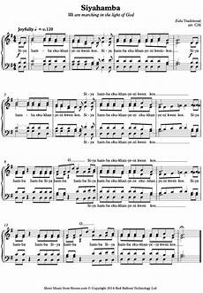 siyahamba zulu traditional sheet music for choir 8notes com