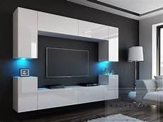 Wohnwand Modern Design - neuheit wohnwand mdf 1 wei 223 hochglanz beleuchtung