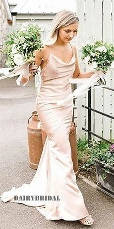 Spaghetti Straps Backless Mermaid Silk Elastic Satin Bridesmaid Dress Fc2249