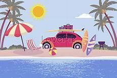 Perjalanan Musim Panas Liburan Di Tepi Laut Ilustrasi
