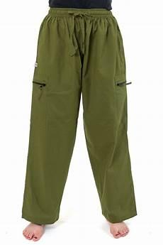 Fz2123 Pantalon Baggy Droit Large Poches Zip Kaki Uni