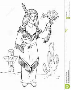 american indian princess coloring stock illustration