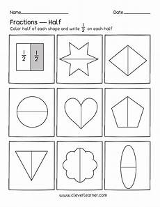 shapes in half worksheets 1140 activity on fractions half 1 2 worksheets for children