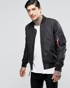 alpha industries ma1 tt bomber jacket slim fit in black asos