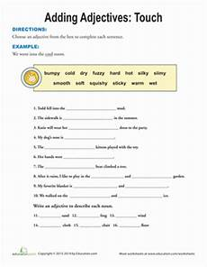 touch adjectives writing worksheets teaching style worksheets