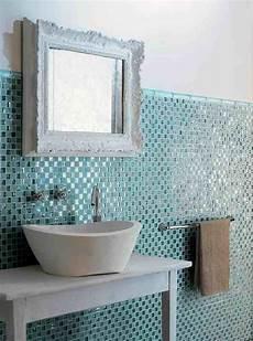 Bad Mit Mosaik - bad fliesen glas mosaik hellblau vintage spiegelrahmen