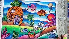Cara Menggambar Dan Mewarnai Pemandangan Dasar Laut