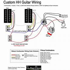 2 humbuckers coil split wiring diagram for custom hh wiring diagram with spst coil splitting and spst switching guitar tech
