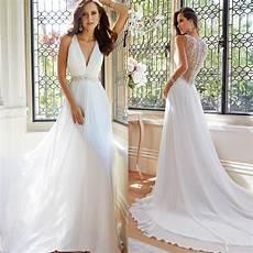 new arrival simple elegant white summer beach wedding dresses v neck appliques long maxi dresses