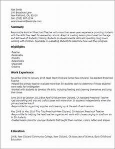 1 assistant preschool teacher resume templates try them