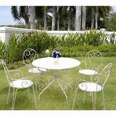 Salon De Jardin M 233 Tal Blanc 1 Table Ronde 4 Fauteuils