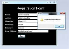 how to validate a registration form using regular
