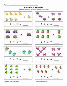 1st grade math worksheet addition with pictures horizontal addition free 94 addition sums 1 10