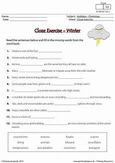 winter cloze activities worksheets 19955 primaryleap co uk cloze exercise winter worksheet ingles 6 years