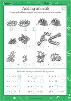 animals around us worksheet for grade 1 14242 adding animals math practice worksheet grade 1 teachervision