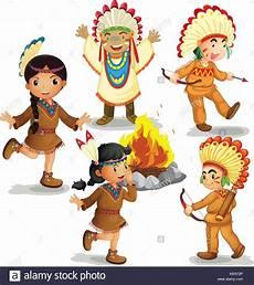 Ausmalbild Indianer Am Lagerfeuer Abbildung Indianer Tanzen Am Lagerfeuer Vektor Abbildung