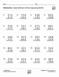 3rd grade math worksheet regrouping subtraction subtraction worksheet 3 digit subtraction without