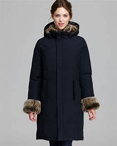 woolrich coats lyst woolrich coat boulder fur trim in blue
