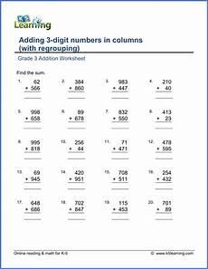 grade math worksheet adding 3 numbers grade 3 math worksheet addition adding 3 digit numbers