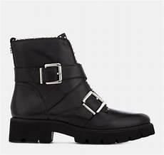 steve madden s hoofy leather biker boots black