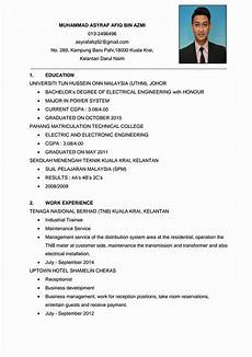 resume ringkas memohon kerja