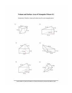 volume and surface area of triangular prisms g measurement worksheet